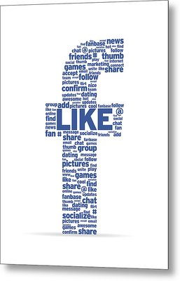 Letter F With Social Words Metal Print