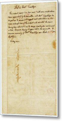 Letter From Jefferson To Franklin Metal Print by American Philosophical Society