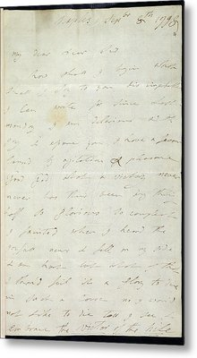Letter Of Lady Hamilton Metal Print by British Library