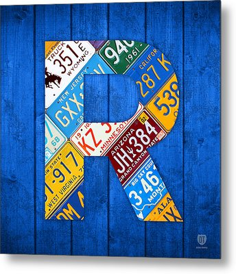 Letter R Alphabet Vintage License Plate Art Metal Print by Design Turnpike