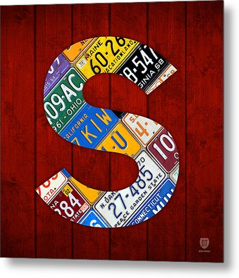 Letter S Alphabet Vintage License Plate Art Metal Print by Design Turnpike