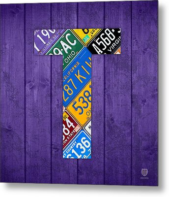 Letter T Alphabet Vintage License Plate Art Metal Print by Design Turnpike
