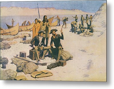 Lewis And Clark At The Mouth Of The Columbia River Metal Print by Frederic Remington