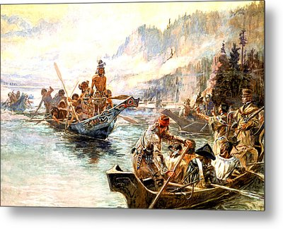 Lewis And Clark On The Lower Columbia  Metal Print by Charles Russell