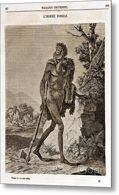 Lhomme Fossile, Cave Man, 1838 Metal Print by Paul D. Stewart