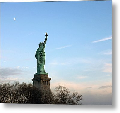 Metal Print featuring the photograph Liberty And Moon by Jose Oquendo