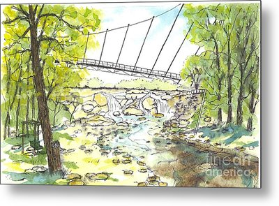 Liberty Bridge With Swing Metal Print