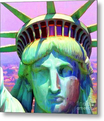Liberty Head Painterly 20130618 Square Metal Print by Wingsdomain Art and Photography