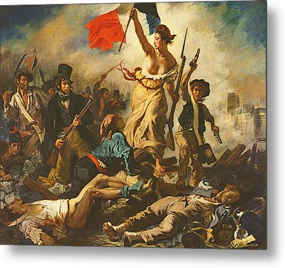 Liberty Leading The People, 28 July 1830 Metal Print by Ferdinand Victor Eugene Delacroix