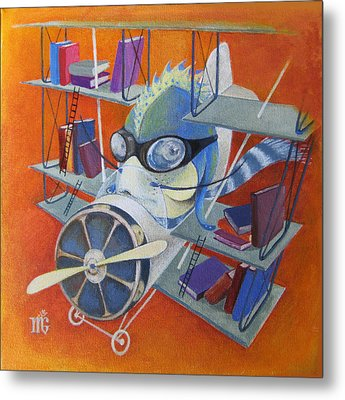 Metal Print featuring the painting Librarian Pilot by Marina Gnetetsky