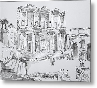 Library At Ephesus Metal Print by Marilyn Zalatan