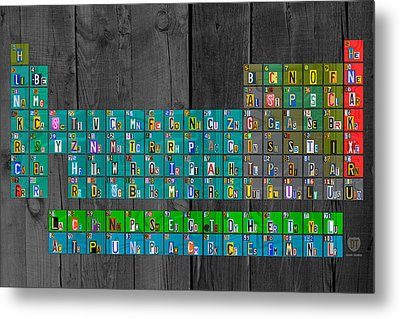 License Plate Art Recycled Periodic Table Of The Elements By Design Turnpike Metal Print by Design Turnpike