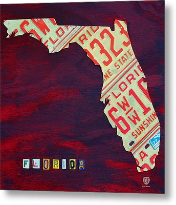 License Plate Map Of Florida By Design Turnpike Metal Print by Design Turnpike