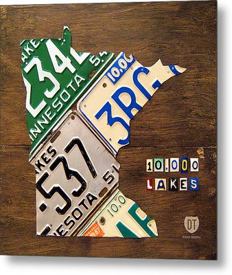 License Plate Map Of Minnesota By Design Turnpike Metal Print by Design Turnpike