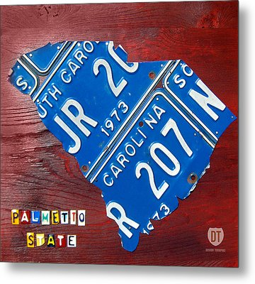 License Plate Map Of South Carolina By Design Turnpike Metal Print by Design Turnpike