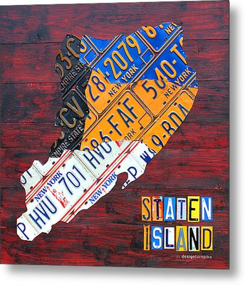License Plate Map Of Staten Island New York Nyc Metal Print