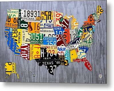 License Plate Map Of The United States - Muscle Car Era - On Silver Metal Print by Design Turnpike