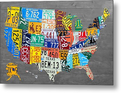 License Plate Map Of The United States On Gray Wood Boards Metal Print by Design Turnpike