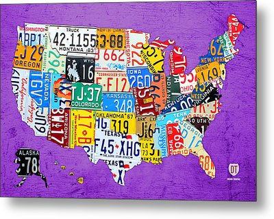 License Plate Map Of The United States On Vibrant Purple Slab Metal Print by Design Turnpike