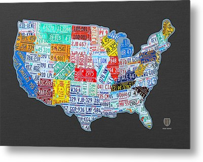 License Plate Map Of The Usa On Gray Metal Print