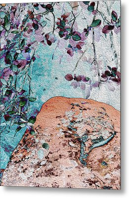 Lichen And Leaves Metal Print by Stephanie Grant