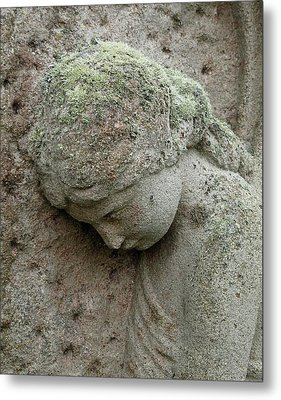 Lichen Growing On Gravestone Metal Print by Cordelia Molloy