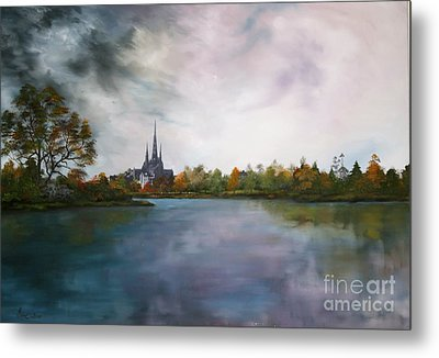 Lichfield Catherdral A View From Stowe Pool Metal Print by Jean Walker