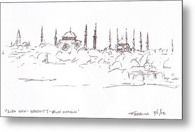 Lido View Serenity Blue Mosque Metal Print by Valerie Freeman