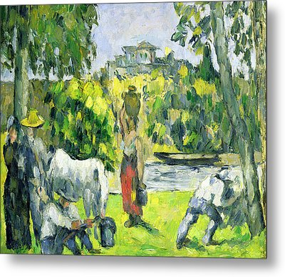 Life In The Fields Metal Print by Paul Cezanne