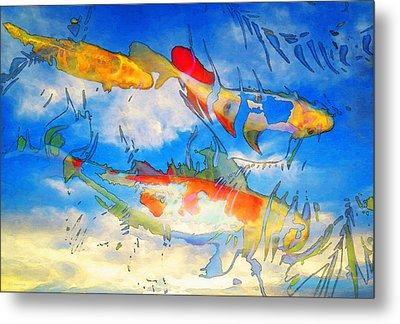Life Is But A Dream - Koi Fish Art Metal Print by Sharon Cummings