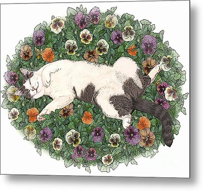 Life Is Just A Bed Of Pansies Metal Print by Artellus Artworks
