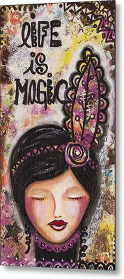 Life Is Magic Uplifting Collage Painting Metal Print