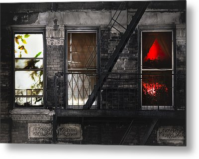 Life Learning And Love - Three Windows And A Story Metal Print by Gary Heller