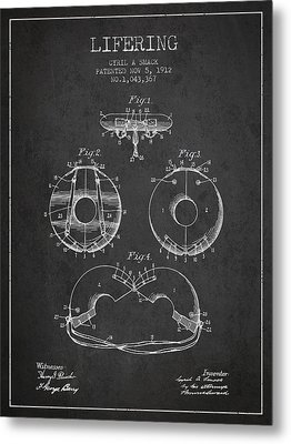 Life Ring Patent From 1912 - Charcoal Metal Print by Aged Pixel