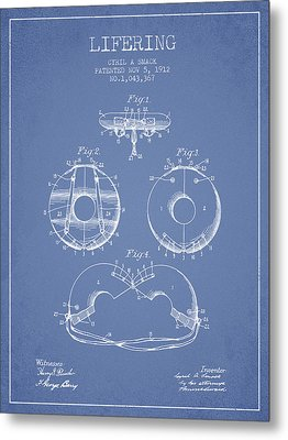 Life Ring Patent From 1912 - Light Blue Metal Print by Aged Pixel