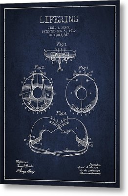 Life Ring Patent From 1912 - Navy Blue Metal Print by Aged Pixel