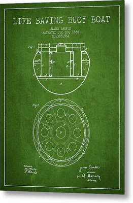 Life Saving Buoy Boat Patent From 1888 - Green Metal Print by Aged Pixel