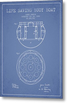 Life Saving Buoy Boat Patent From 1888 - Light Blue Metal Print by Aged Pixel