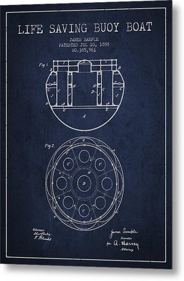 Life Saving Buoy Boat Patent From 1888 - Navy Blue Metal Print by Aged Pixel