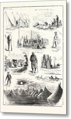 Life Under Canvas, Sketches At The Volunteer Camp Metal Print
