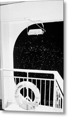 lifebelt on board the hurtigruten ship ms midnatsol at night in winter in Tromso troms Norway europe Metal Print by Joe Fox