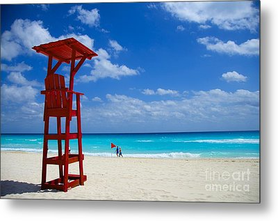 Lifeguard Chair  Metal Print by Sarah Mullin