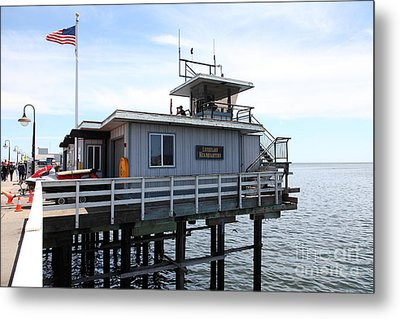 Lifeguard Headquarters On The Municipal Wharf At Santa Cruz Beach Boardwalk California 5d23828 Metal Print by Wingsdomain Art and Photography