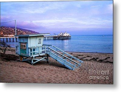 Lifeguard Tower And Malibu Beach Pier Seascape Fine Art Photograph Print Metal Print