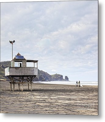 Lifeguard Tower And Surfers Bethells Beach New Zealand Metal Print by Colin and Linda McKie