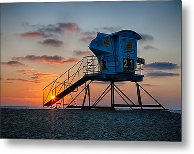 Lifeguard Tower At Sunset Metal Print by Peter Tellone