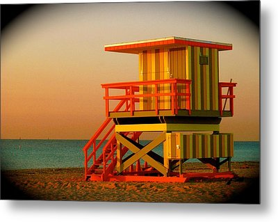 Lifeguard Tower In Miami Beach Metal Print by Monique Wegmueller