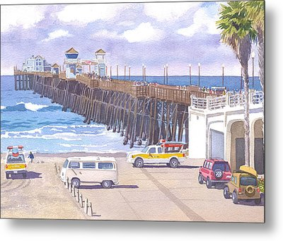 Lifeguard Trucks At Oceanside Pier Metal Print by Mary Helmreich