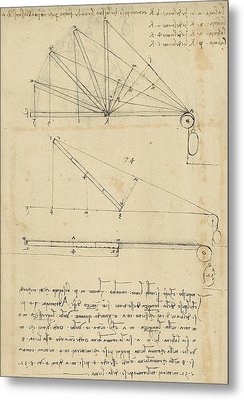 Lifting By Means Of Pulleys Of Beam With Extremity Fixed To Ground From Atlantic Codex Metal Print by Leonardo Da Vinci