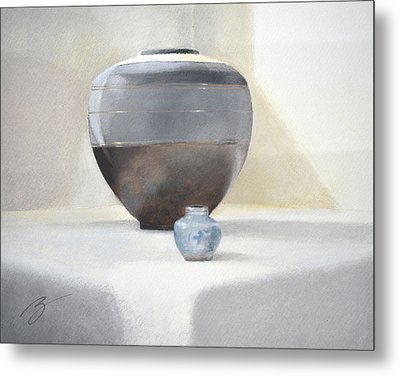 Metal Print featuring the pastel Light And Shadow Pastel by Ben Kotyuk